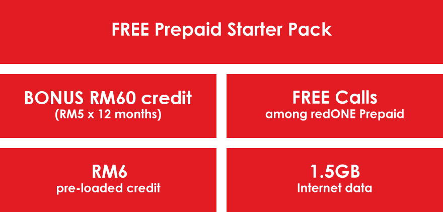 Free Prepaid Starter Pack Bonus RM60 credit Free Calls among redONE Prepaid RM6 1.5GB pre-loaded credit Internet data