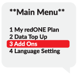 "Step 2 ""Main Menu"", 1.My redONE Plan 2.Data Top Up 3.Add Ons 4.Language Setting, Select 3 Add Ons"