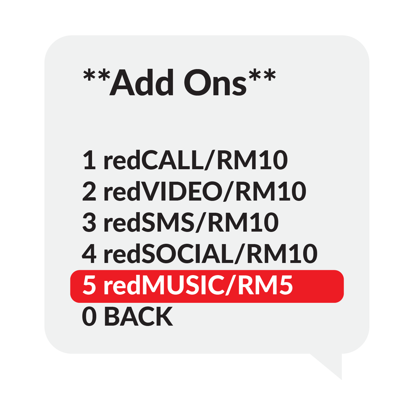 "Step 3 ""Add Ons"", 1.redCALL/RM10 2.redVIDEO/RM10 3.redSMS/RM10 , Select 2 redVIDEO/RM10"