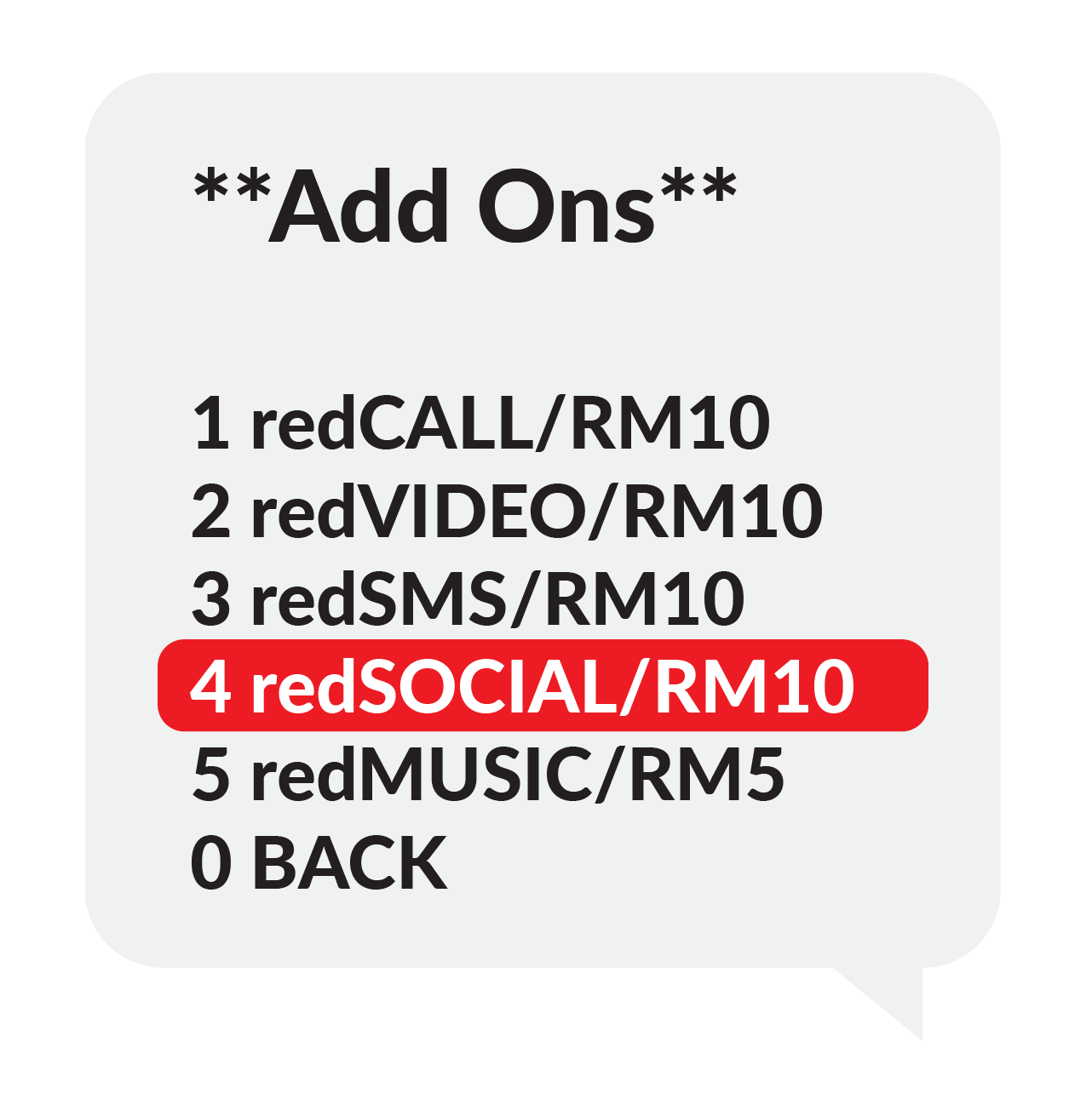 """Step 3 """"Add Ons"""", 1.redCALL/RM10 2.redVIDEO/RM10 3.redSMS/RM10 , Select 2 redVIDEO/RM10"""