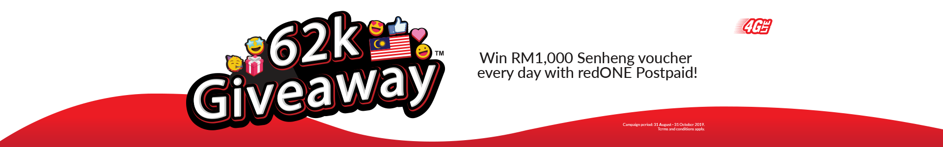 Win RM1,000 Senheng voucher every day when you subscribe to redONE Postpaid plans! T&C Apply.