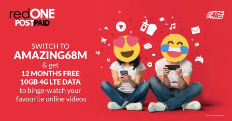 Switch to AMAZING68M & get 12 MONTHS FREE 10GB 4G LTE DATA to binge-watch your favourite online videos.