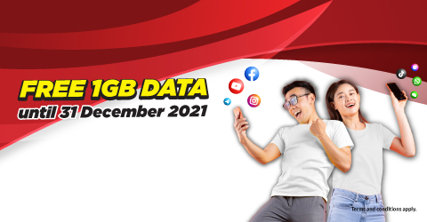 We're giving you free 1GB data until 31 December 2021 to keep you connected.