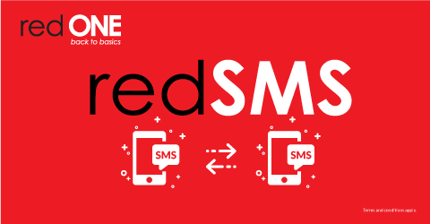 redSMS, send unlimited SMS to redONE postpaid & 100 SMS to all networks.