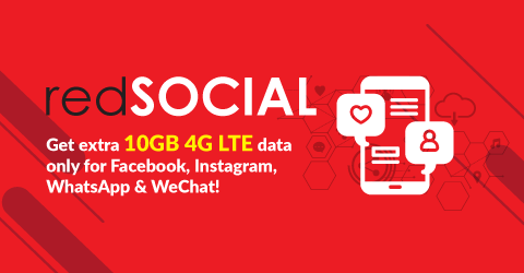 Get extra 10GB 4G LTE data only for Facebook, Instagram, WhatsApp & WeChat!